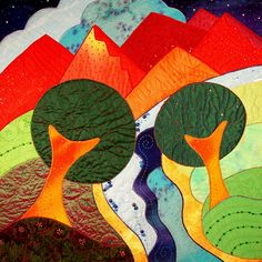 Summer's Eve I - another earlier quilt created with Fast-Piece Applique construction - inspired by a visit to New Mexico