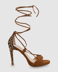 Sandalias de tacón de mujer Gloria Ortiz de piel marrones