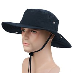 Wide Brim Cowboy Hat Collapsible Hats Fishing Golf Hat Sun Block UPF50+ - A  Dark Blue - CM12L20T13P 365366d31cfa