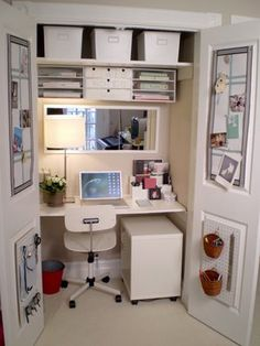 closet office. Like the idea that everything can be hidden away by closing cabinet door. Organising mini drawers above the mirror doesn't seem to be practical though!