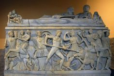 Roman marble sarcophagus from Vicovaro, carved with the Calydonian Hunt, now at the Palazzo dei Conservatori, Rome