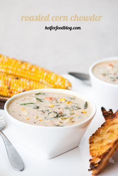 roasted corn chowder - a great way to use up left over corn on the cob #vegan #glutenfree | RECIPE on hotforfoodblog.com
