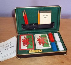 Vintage Anson Portable Roulette and Poker Set - Travel Gambling Games - NOS Wrapped Playing Cards, 4 Bakelite Die - Original Instructions