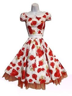 H & R london RED Rose White Floral Vintage 1950s Party Lucy Dress pinup 9048