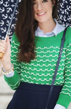 Green Scallops sweater, layered button-down and skirt
