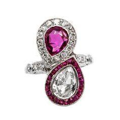 Burma Ruby Diamond Platinum Bypass Cocktail Ring