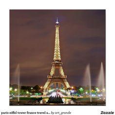 paris eiffel tower france travel art poster