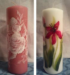 Hand painted, pillar candles - on sale in my craft store