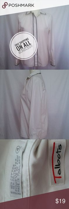 Talbots white and black button down blouse Talbots size 4 white and black button down shirt.  Perfect condition.  24 inches long (Not including collar), 22 inch long sleeves, and 19 inches from pit to pit.  Measurements are approximate.  Free shipping on all bundles.  Same day shipping for all products purchases by 3PM Central time on a business day. Talbots Tops Button Down Shirts