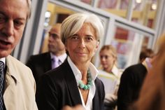 jacket + shirt + necklace {christine lagarde}