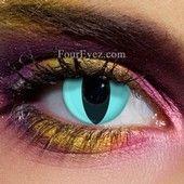 Aqua Cat Eye Contact Lenses (Pair)