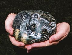 Baby raccoon painted rock by B-Brilliant Decorative Painting