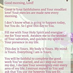 A Prayer for First Thing in the Morning - Daily devotional and Bible study… Prayer Scriptures, Bible Prayers, Faith Prayer, My Prayer, Bible Verses, Prayer Room, Prayer Of Salvation, Prayer Circle, Prayer Corner