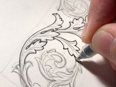 Practicing acanthus leaves for future ornamentation projects. Always loved the aesthetic of these, but never took the time to figure them out. This one's not perfect, but it's a start. Wood Carving Patterns, Carving Designs, Mandala Tattoo Design, Tattoo Designs, Dove Tattoo Design, Designs Mehndi, Filigree Design, Leaf Design, Leaf Drawing