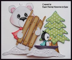 Winter Bear Set Premade Paper Piecing Die Cut for Scrapbook Page by Babs Created by Paper Piecing Memories by Babs