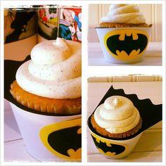 A dozen Batman cupcape and cupcake wrapper by CornerstonePaperCo, $20.00