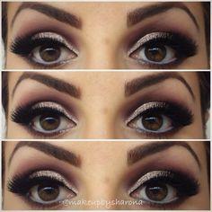 maroon and peach/pink glitter eye makeup