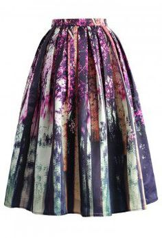 Enchanted Purple Forest Midi Skirt - CHICWISH SKIRT COLLECTION - Skirt - Bottoms - Retro, Indie and Unique Fashion