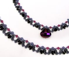 Dark Hearts Necklace Beading Pattern by Sandra D. Halpenny at Bead-Patterns.com