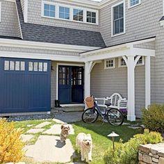 Create an Outdoor Room - Family-Friendly Maine Cottage - Coastal Living exterior paint Stonington Gray by BM Exterior Gray Paint, Exterior Color Schemes, Exterior Paint Colors For House, Paint Colors For Home, Paint Colours, Gray Siding, Vinyl Siding, Grey Paint, Maine Cottage