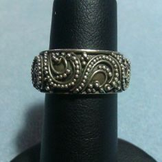 Designer Beaded Scroll Sterling Silver Ring Spiral Swirl Solid Thick Band sz 5.5