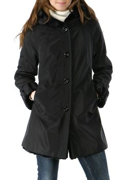 c534ed84789524 BGSD Women's Reversible Faux Persian Lamb Hooded A-Line Coat. Check out  this great