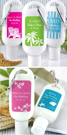 sunscreen - personalized favors. Great idea for an outdoor wedding or reception!