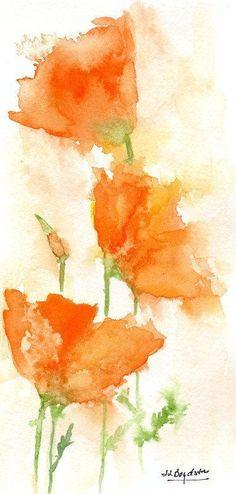 Watercolor California Orange Poppies, Original Painting, Poppy Art, Poppy Decor, Gifts Under 25 Watercolor Poppies, Watercolor Cards, Watercolor Paintings, Original Paintings, Watercolor Landscape, Watercolours, Watercolor Projects, Watercolor Techniques, Poppy Decor