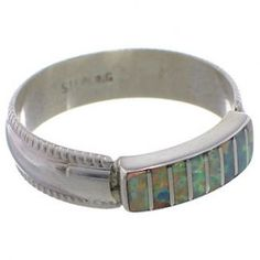 Zuni Indian Jewelry Opal And Sterling Silver Ring Size 7-3/4 EX26784