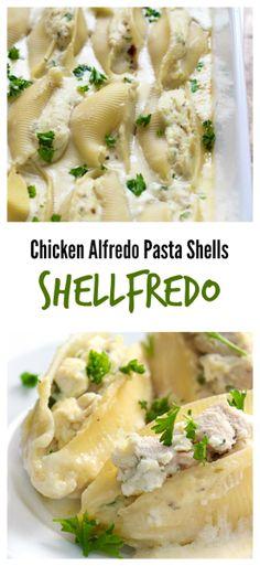 ... have ricotta chicken stuffed shells swimming in a rich Alfredo sauce