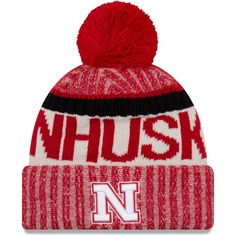 0a8277e26a1 Nebraska Cornhuskers New Era Team Sport Cuffed Knit Hat With Pom – Scarlet.  Nfl ...