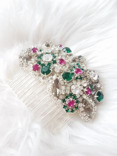 Excited to share the latest addition to my #etsy shop: Bridal emerald fuchsia crystal haircomb, Rhinestone couture silver headpiece, Wedding hair jewelry, Massive faux diamond hand stitched comb http://etsy.me/2AlSJ4S