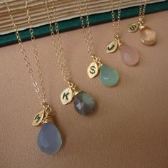 Bridesmaids Necklaces SET of SIX  &Stone and Initial of your Choice - Lovely Gift, Bridal Party, Hand Stamped Leaf