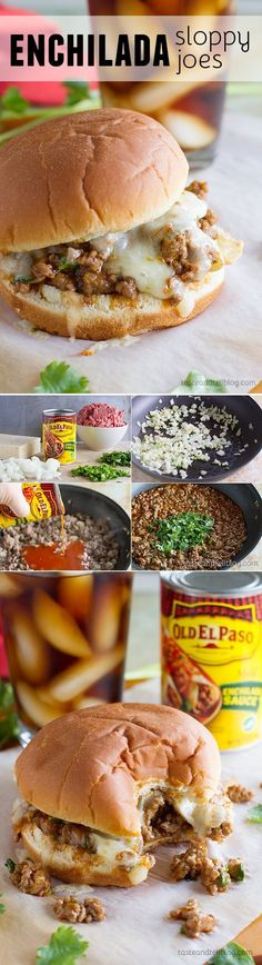 Enchilada Sloppy Joe Recipe - tried Added red bell pepper. Not your typical sloppy joe recipe, these sloppy joes have an enchilada twist with delicious tex-mex flavors. I Love Food, Good Food, Yummy Food, Beef Dishes, Food Dishes, Hamburger Meat Dishes, Meat Meals, Hamburger Buns, Main Dishes