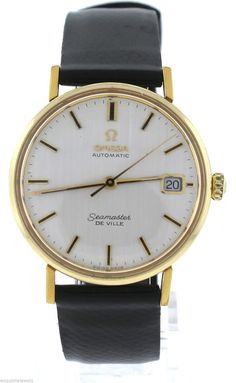 Vintage Omega Seamaster De Ville Automatic Gold Filled Black Leather 33mm Date Watch