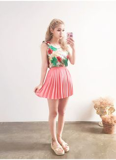 Tropical Shoulder Tie Sleeveless  | Korean Fashion #chuu