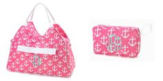 Beach Bag Cosmetic Bag Set-Pink Anchor by SweetTsFancies on Etsy