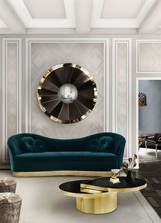 Living Room Inspiration | RÊVE Mirror, TEARS Cocktail Table  and KELLY Sofa | Koket | See more: https://www.brabbu.com/en/all-products.php