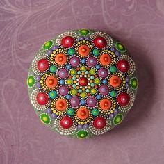 Jewel Drop Mandala Painted Stone hand painted by por ElspethMcLean