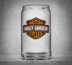 Our clever Soda Can Glass takes the exact shape of a soda can, including the little lip on the rim. | Harley-Davidson Bar & Shield Logo Soda Can Glass