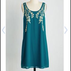 Everything Exquisite Dress Teal blue shift dress with champagne colored leaf embroidery! I can provide pictures of the actual dress if you want, just let me know. NWOT. Open to offers ModCloth Dresses