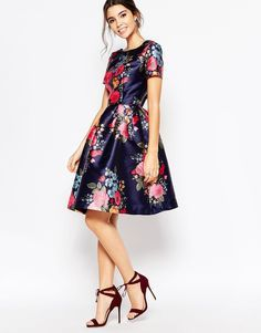 Image 4 ofChi Chi London Midi Prom Dress with Full Skirt and Sleeve