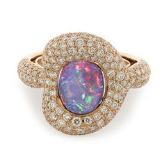 Red and blue colours - the essence of an evening sky. Black opal ring by Kat Florence