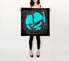"""Square Scarf (26"""" x 26"""") """"Collage blue black"""" by eliso ignacio silva simancas"""