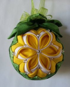 CalaLily Spring Quilted Ornament with crystal beads and leaf top. 3 inch diameter.