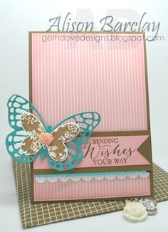Gothdove Designs - Alison Barclay - Stampin' Up! Australia - Butterfly Basics #colorcoach #stampinup #birthday #butterflies #card #artisanembellishment #inspirecreateshare2015
