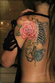 Rose with skull tattoo Design Idea - Tattoo Design Ideas