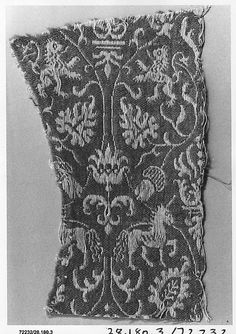 Mid-16th c. Spanish linen and wool (6 3/4 x 4 in.) - Met Museum 28.180.3