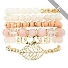 Charlotte Russe Beaded Leaf & ID Bracelets - 6 Pack