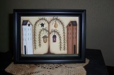 saltbox houses primitive | Saltbox House Primitive Framed CanvasHandpainted by Primgal